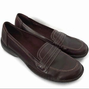 Clarks Brown Leather Loafers-Sz 7.5M